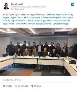 Dijital Pazarlama Eğitimi 24-25 Şubat 2018 Sınıfı
