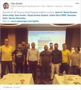 7-8-temmuz-2018 Dijital Pazarlama Eğitimi katılımcı görüşleri