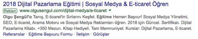 Örnek Google Arama Ağı Reklamı